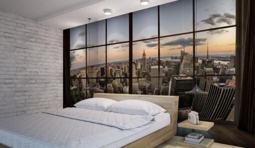מדבקת קיר לחדר שינה דמוי חלון