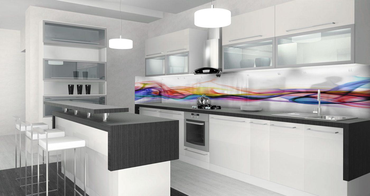 חיפוי זכוכית מופשט למטבח