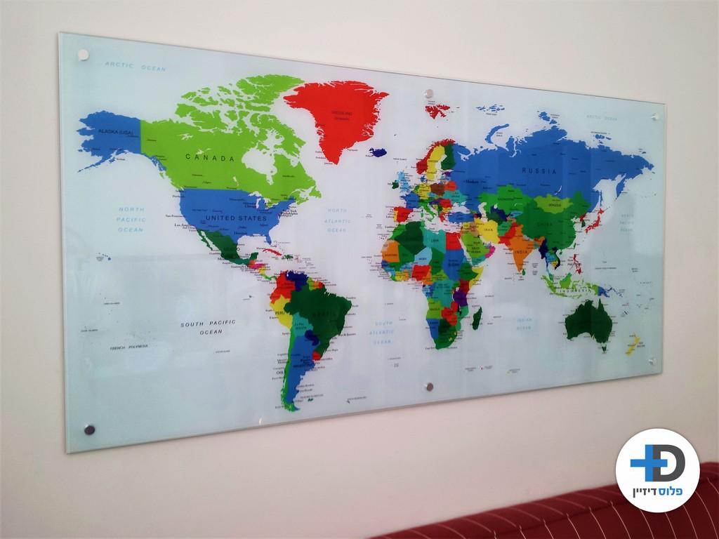הדפסה על זכוכית מפת עולם