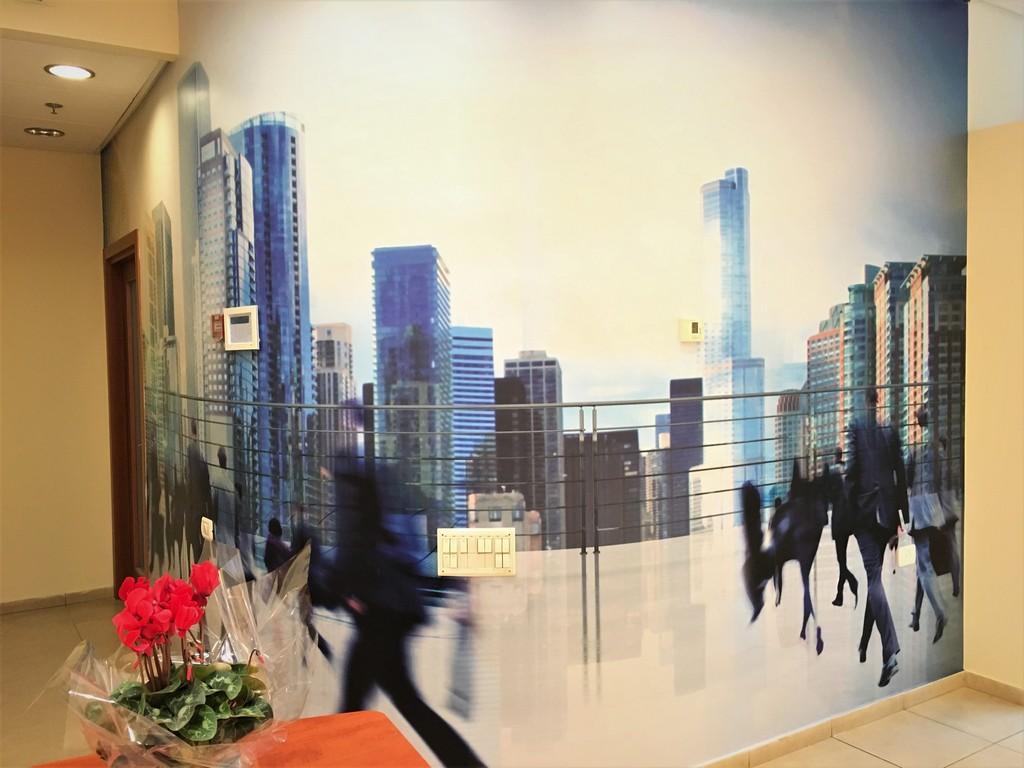 מדבקת קיר מעוגלת משרד