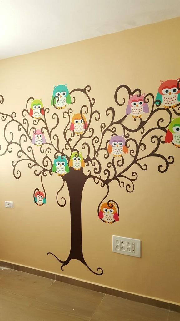 מדבקת קיר עץ ינשופים