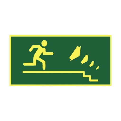 שלט כיוון יציאה למדרגות ימינה למטה