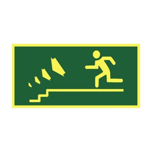 שלט כיוון יציאה למדרגות שמאלה למטה
