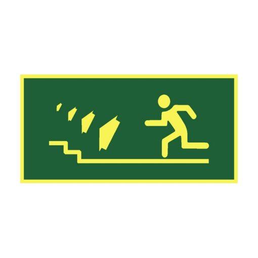שלט כיוון יציאה למדרגות שמאלה למעלה