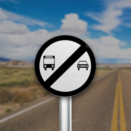 תמרור קצה איסור עקיפה לרכב כבד