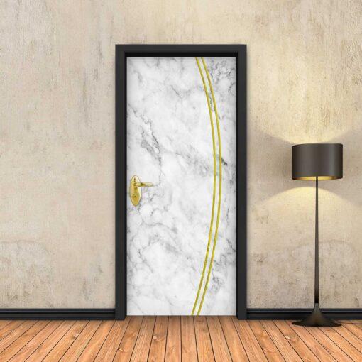טפט לדלת שיש לבן 2K פסי זהב