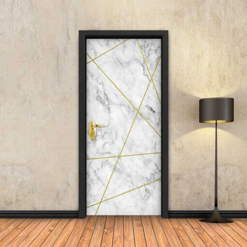טפט לדלת שיש לבן מופשט פסי זהב