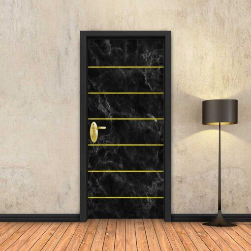 טפט לדלת שיש שחור 6 פסי זהב