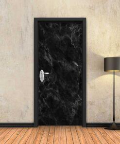 טפט לדלת שיש שחור חלק