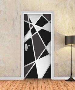 טפט לדלת גיאומטרי שחור לבן