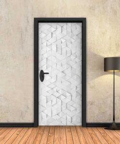 טפט לדלת לבן משולשים