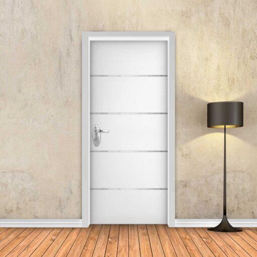 טפט לדלת לבן חלק 4 פסי ניקל