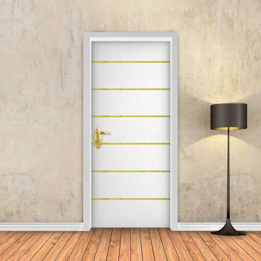 טפט לדלת לבן חלק 6 פסי זהב
