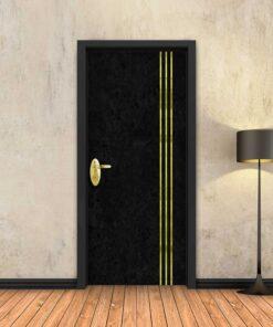 טפט לדלת בטון שחור 3 פסי זהב