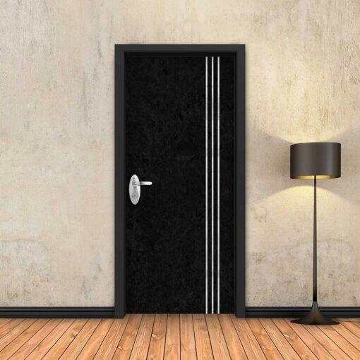 טפט לדלת בטון שחור 3 פסי ניקל