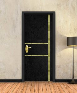 טפט לדלת בטון שחור 2X2 פסי זהב