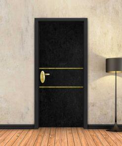 טפט לדלת בטון שחור 2 פסי זהב