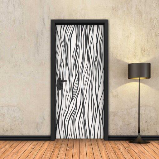 טפט לדלת שיערות שחור לבן