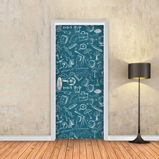 טפט לדלת לוח גיר כחול