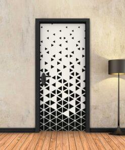 טפט לדלת שחור לבן משולשים
