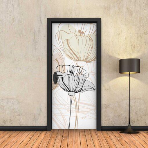 טפט לדלת פרחים עדין