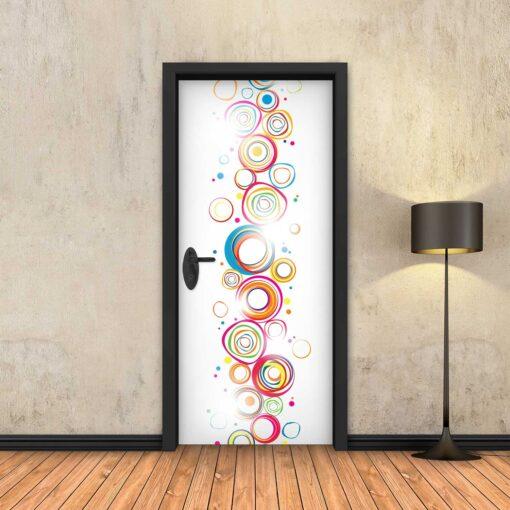 טפט לדלת עיגולים צבעוניים