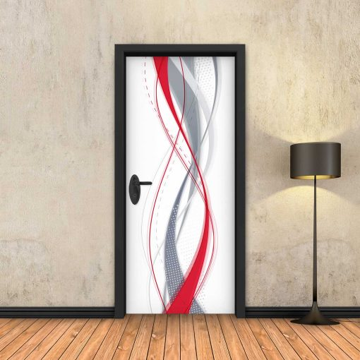 טפט לדלת מופשט אדום
