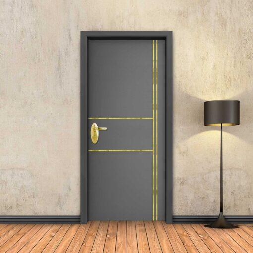טפט לדלת אפור 2X2 פסי זהב
