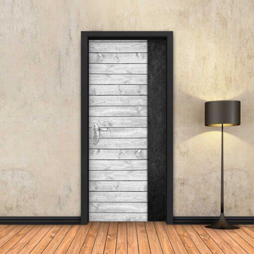 טפט לדלת עץ לבן פס שחור