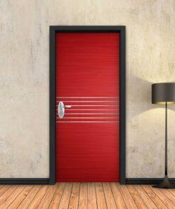 טפט לדלת אדום 7 פסי ניקל