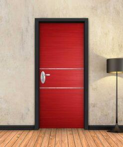 טפט לדלת אדום 2 פסי ניקל