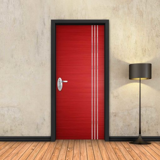 טפט לדלת אדום 3 פסי ניקל