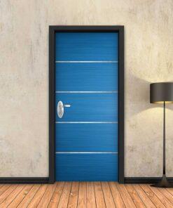 טפט לדלת כחול 4 פסי ניקל