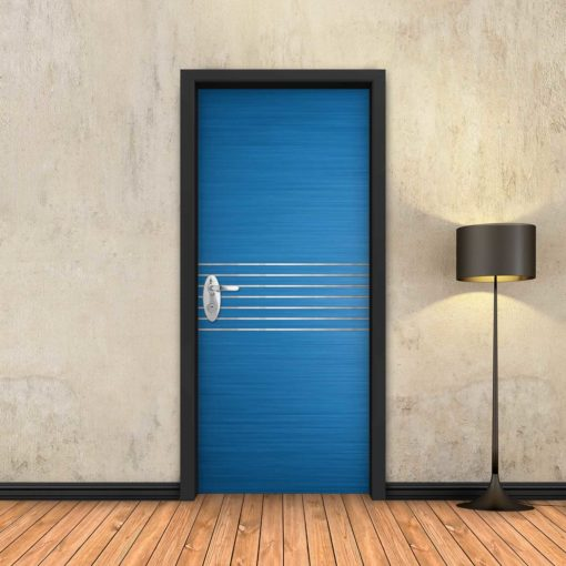 טפט לדלת כחול 7 פסי ניקל