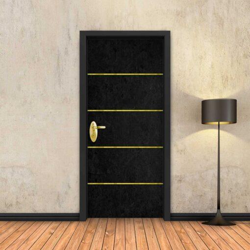 טפט לדלת בטון שחור 4 פסי זהב
