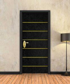 טפט לדלת בטון שחור 6 פסי זהב