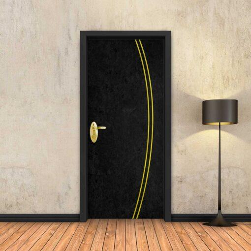 טפט לדלת בטון שחור 2K פסי זהב