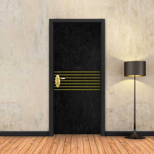 טפט לדלת בטון שחור 7 פסי זהב