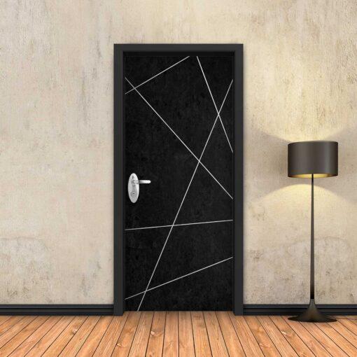 טפט לדלת בטון שחור מופשט פסי ניקל