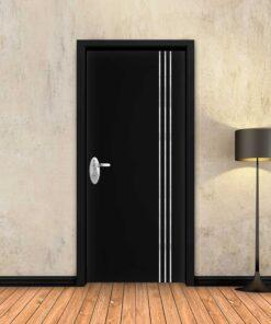 טפט לדלת שחור חלק 3 פסי ניקל