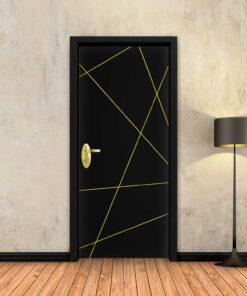 טפט לדלת שחור חלק פסי זהב