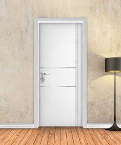 טפט לדלת לבן חלק 2X2 פסי ניקל