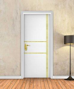 טפט לדלת לבן חלק 2X2 פסי זהב