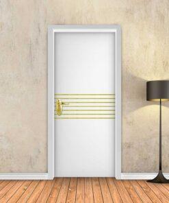 טפט לדלת לבן חלק 7 פסי זהב