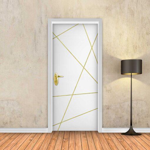 טפט לדלת לבן חלק מופשט פסי זהב