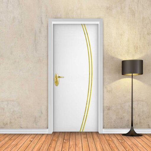 טפט לדלת לבן חלק 2K פסי זהב