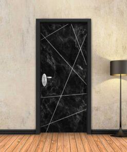 טפט לדלת שיש שחור מופשט פסי ניקל