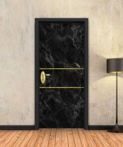 טפט לדלת שיש שחור 2 פסי זהב