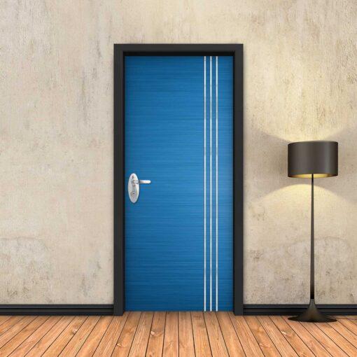 טפט לדלת כחול 3 פסי ניקל