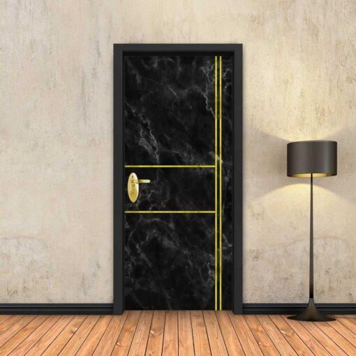 טפט לדלת שיש שחור 2X2 פסי זהב